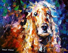 Painting - Dog - Palette Knife Oil Painting On Canvas By Leonid Afremov by Leonid Afremov , Popular Paintings, Colorful Paintings, Animal Paintings, Oil Painting Texture, Oil Painting On Canvas, Canvas Art Prints, Moon Painting, Painting Abstract, Acrylic Paintings