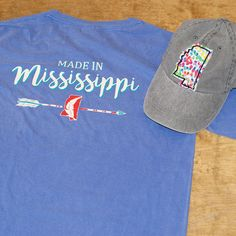 Made in Mississippi tees!  Call 1-800-467-7763 for sizes and availability. www.TheMississippiGiftCompany.com