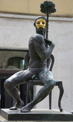 Italy, Statue, Naked, Man, Mask, Bronze, Gold #italy, #statue, #naked, #man, #mask, #bronze, #gold