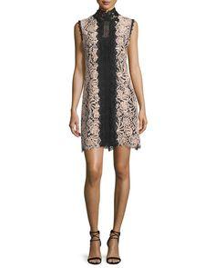 Sleeveless Lace Colorblock Mini Dress, Desert Rose