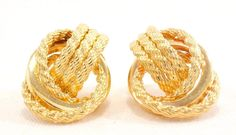 14k Solid Gold Earrings Rope Strands Knot Design Lovely Earrings Free Shipping #Knot