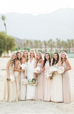 A beautiful bridal party dressed in blush and nude in Palm Springs, CA  – Inspired By This