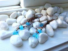 Dangle Aquamarine Glass Earrings by ZaZaJewels on Etsy