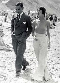 Pantalon ceinturé taille haute Plage de Biarritz, années 30.