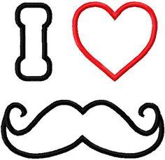 Valentine mustache embroidery design I heart mustache applique design instant download