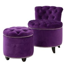 The Marilyn Studded Chair & Footstool in Purple Velvet - Hollywood Glamour