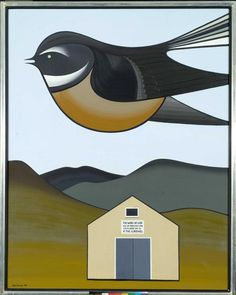 The hard-edged imagery of Don Binneys paintings brought praise for him in the as someone whose work expressed the Art Gallery, Art Works, New Zealand Art, Maori Art, Art Images, Art, Kiwi Artist, Bird Art, Nz Art