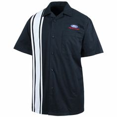FORD Racing - Pit Crew Shirt Item #: 300408  Get out of the pit and into the driver's seat with this peached twill camp shirt. Iconic racing stripes, full button front, left chest pocket, and back yoke are realistic touches. 60/40 cotton/poly blend. Navy/white. Available in men's sizes M-2X. Pit Crew Shirts, Racing Stripes, Swag Style, Navy And White, Cool T Shirts, Best Gifts, Ford, Hoodies, Muscle Cars