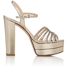"Valentino Women's ""Love Latch\"" Platform Sandals ($995) ❤ liked on Polyvore featuring shoes, sandals, gold, platform sandals, slingback sandals, gold metallic sandals, embellished sandals and leather sole sandals"