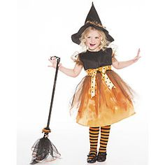 Charmed Witch: It's an adorable good witch costume for toddlers, it's a festive Halloween party dress! And because the witch hat and matching striped tights are included, it's also a spellbinding deal. Kids' witch dress features a full, swishy skirt with tulle overlay, puffy elasticized sleeves, and ribbon sash. With easy-on, hook 'n loop back closure. Polyester; spot clean. Classic witch hat is trimmed with tulle. Broom sold separately.