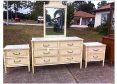 Mid Century Henry Link Bali Hai Dresser Mirror And Night Stands Bamboo Furniturebedroom