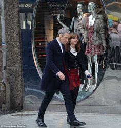 DOCTOR WHO - Serious stuff: The pair were seen strolling down the street as they got to work on yet another adventure in the sci-fi series