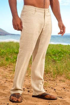 Linen yacht pant - jean style - regular fit - natural - Island Importer