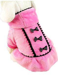 ACEFAST Puppy Pet Dog Winter Hoodie Bowknot Warm Coat Soft Plush Princess…