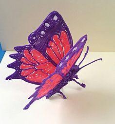 3d butterfly, 3doodler creatie van een vlinder! Gemaakt door Craftmamanl #whatwillyoucreate 3d pen