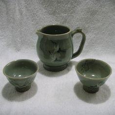 Green inlaid celadon  teacup  set  / Specialties of  Korea  /  Hand Made  ! #KoreaSeilPottery
