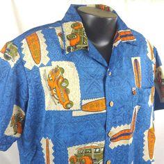 2768e2cb6 Blue Orange Tapas Print Hawaiian Shirt Woody Surfboard Bug Aloha Friday  Large #RoundyBay #Hawaiian