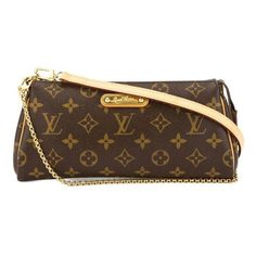 Pre-Owned Louis Vuitton Monogram Eva Bag ($759) ❤ liked on Polyvore featuring bags, handbags, shoulder bags, brown, louis vuitton purses, chain handle handbags, brown cross body purse, brown handbags and brown crossbody purse