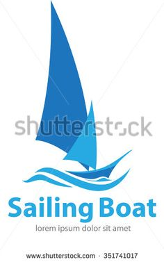 Vector shape sailing boat for logo or symbol shipping company - stock vector