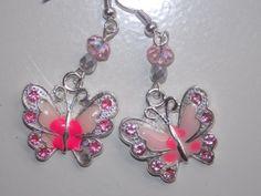 Pink Butterfly Earrings by EriniJewel on Etsy, $10.00
