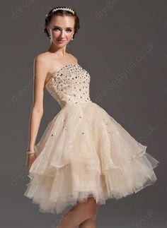 Champagne Rhinestone Prom Dress Shop uk