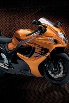 orange motorcycle Suzuki Hayabusa it's the color