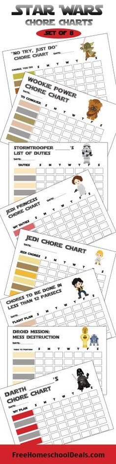 Get those chores completed with quickly with this set of Star Wars Chore Charts! Contains 8 different free printable charts. Free Printable Chore Charts, Printable Star, Chore Chart Kids, Free Printables, Kids And Parenting, Parenting Hacks, Parenting Plan, Theme Star Wars, Planners