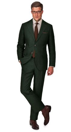 OLIVE GREEN #LINEN SUIT | The fashion forward olive green color will make a firm statement about your heightened aesthetics, while the subtle texture of the fabric will bring extra nonchalance points. Customize with wide lapels, unpadded shoulders and 3-roll-2 buttoning for a casual look inspired by Neapolitan tailoring. | Angelico 100% Linen | Custom-tailored | Free shipping & returns | Alterations covered for 365 days