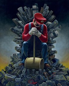 ArtistAaron Jasinskicreated a brilliantGame of Thrones / Super Mario Brothers / Donkey Kong mashup painting titledThrone of Gamesfor The Old School Video Game Art Show: Level 2opening Friday, October 26, 2012 atGallery1988Venice in Santa Monica, California.  Throne of GamesbyAaron Jasinski(deviantART) (Facebook) (Twitter)  viajasinskiart
