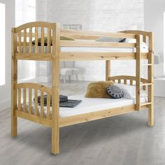 The honey solid pine finish gives the American Wooden Bunk Bed frame a classic look that sits perfectly in any home. The natural beauty and unique qualities of the timber are highlighted thanks to the careful finishing that not only enhances the look, it also prolongs the lifetime of the bunk bed fr