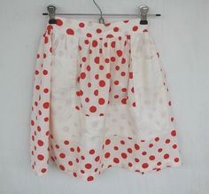 Vintage White with Red Polka Dots Apron