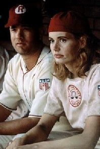 """Dottie Hinson (Geena Davis) and Jimmy Dugan (Tom Hanks) in """"A League of Their Own"""" - Dottie: """"I quit! This is too hard!"""" Jimmy: """"It's SUPPOSED TO HARD! If it weren't hard everybody would do it! Love Movie, I Movie, Movie Stars, Tom Hanks, Baseball Movies, Divas, No Crying In Baseball, Geena Davis, Image Film"""