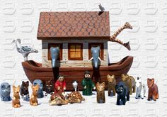 God called on Noah, his wife, three sons and their wives to build an ark. Description from noahs-ark.com. I searched for this on bing.com/images Country Wood Crafts, Noahs Arc, Wood Animal, Wood Carving, Folk Art, Diy And Crafts, Dollhouses, Building, Bing Images