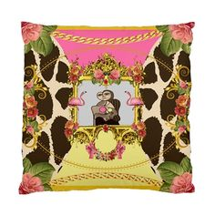 Funky Pink and Yellow Picasso With Giraffe Print and Flowers Cushion/Pillow Cover. My original design and exclusive to me. Picasso on a yellow, peach and giraffe print with gold embellishments  with p