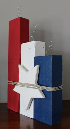 of July Wooden of July Decor/Red White and Blue Wooden Fireworks/Wooden Firecrackers/Independence Day Fireworks Fall Wood Crafts, Wood Block Crafts, Scrap Wood Projects, Spring Crafts, Wood Blocks, 4th July Crafts, Fourth Of July Decor, 4th Of July Decorations, July 4th