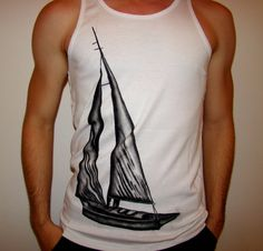 Sail Boat Men's Shirt hand painted by ABeeTees on Etsy, €20.00 cool T-shirt design yacht saling summer tank