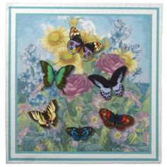 "Blue Collage ""Beautiful Butterflies"" Cloth Napkin"