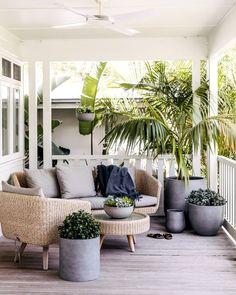Modern Farmhouse Porch, Farmhouse Homes, Farmhouse Decor, Outdoor Pots, Outdoor Decor, Outdoor Spaces, Outdoor Living, Outdoor Ideas, Backyard Ideas