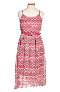 Zunie Chevron Stripe Maxi Dress (Big Girls) | Nordstrom