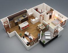 "50 Three ""3"" Bedroom Apartmenthouse Plans  Bedroom Apartment Captivating 3 Bedroom Apartment Design 2018"