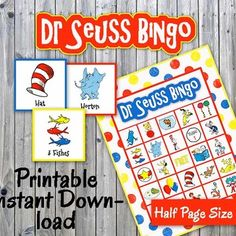 Dr Seuss Bingo Game - printable - Read Across America, Dr. Seuss Birthday, up to 30 players