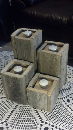 Rustic Wooden Pillar Candle Holders.  Made from claimed wood    Four Towers  10 H X 4 W   8 H X 4 W   6 H X 4 W   4 H X 4 W    Items will be