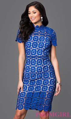 Knee-Length Short-Sleeve Lace High-Neck Party Dress