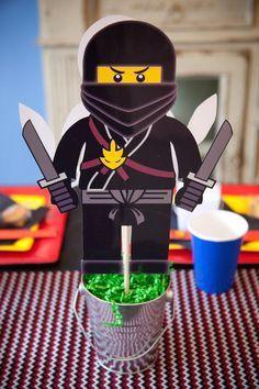 Ninjago themed birthday party with Lots of Really Fun Ideas via Kara's Party Ideas Kara's Party Ideas   Cake, decor, cupcakes, games and more! KarasPartyIdeas.com #ninjaparty #ninjagoparty #legoparty #legopartyideas #ninjago #boyparty #partyideas (19)
