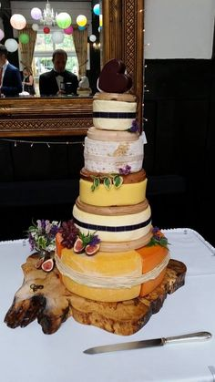 After searching for ideas...Our own wedding cheese cake made from Wensleydale cheese
