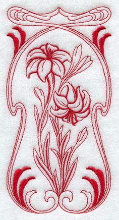 Art Nouveau Lily (Redwork)   i love the border but would rather see blanket flowers