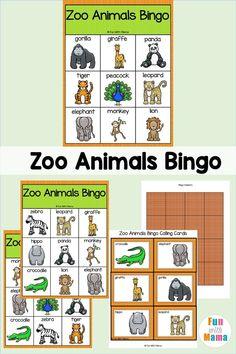 Zoo Bingo Game For Kids - A Fun Animal Bingo Game