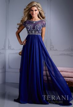 Terani Couture - Midnight Gown I like the dress, but I don't like her Homecoming Dresses, Bridesmaid Dresses, Bride Dresses, Prom Gowns, Dress Prom, Mothers Dresses, Gown Dress, Linen Dresses, Wedding Dresses