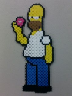 Homer Simpson with Doughnut perler bead sprite by R6b1xCub3r on deviantART