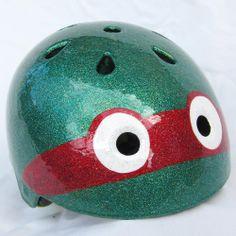 Custom Roller Derby Helmet | SparkleDome.com | Teenage Mutant Ninja Turtles! Roller Derby, Kids Roller Skates, Roller Skating, Baby Pop, Custom Helmets, World Of Sports, Kids Sports, Teenage Mutant Ninja Turtles, Rollers